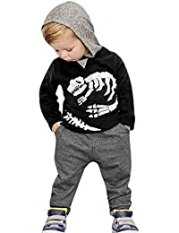 Ropa bebé Amlaiworld Impreso Sudaderas con Capucha Tops de Pequeño Niños Niñas Bebés + Pantalones Conjunto de Trajes12 Mes - 5 Años (Negro, Tamaño:3 Años)