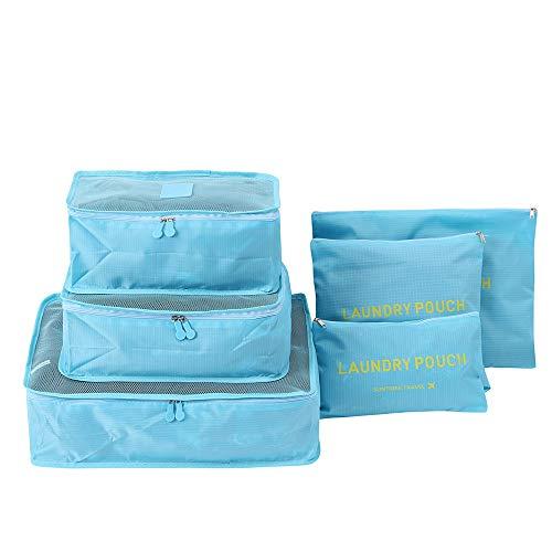Wokee - Juego de 6 bolsas de viaje para ropa, lavandería, bolsa de al