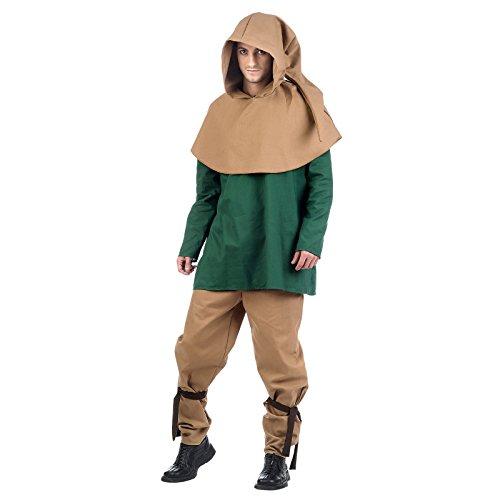 Mittelalter Herren Kostüm Knappe 4-tlg. Gugel Hose Tunika Gürtel Baumwolle braun grün - (Knappe Kostüm)