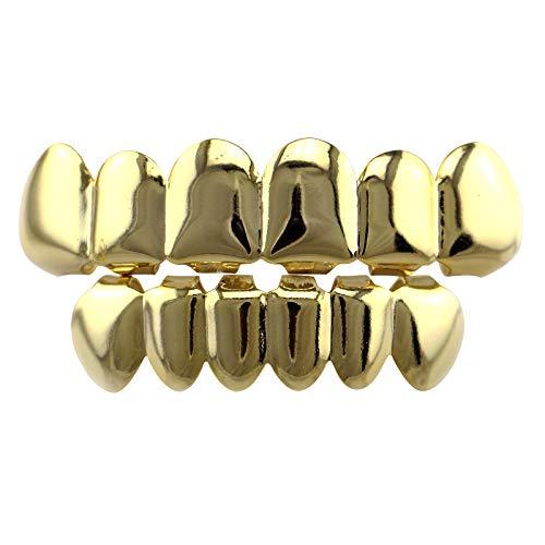 ähne Halloween Zahnprothese, Custom Golden versilbert Zähne Grillz Cap ()