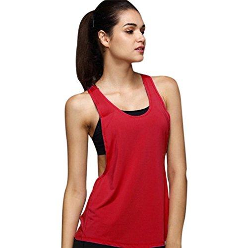 ❤️ Chaleco de Yoga Deporte Mujer,Gimnasio Flojo Atractivo del Verano de Las Mujeres Entrenamiento del Chaleco del Entrenamiento Absolute (M, Rojo)
