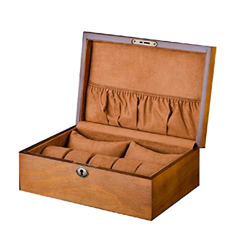 Rong biao Holz Uhrenbox 2 Big + 5 Kleine Kissen Slot Mit Schloss Aufbewahrungsbox Armband Geschenk Schmuck Finishing Display Box Männer Und Frauen Uhr Boxe (Eiche Display-box)