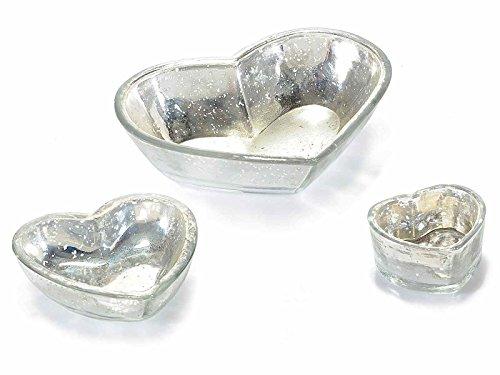 Antike Glas Schalen (Set 3Schalen in Herzform aus Glas Antik)