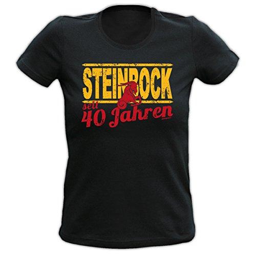 4Girls Damen T-Shirt <->          STEINBOCK seit 40 Jahren          <->           Fun Geschenk, Goodman Design® Schwarz Schwarz