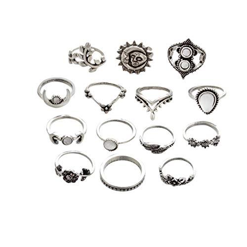 Idiytip 14 Stücke Sterling Silber Sonnenblume Mond Sonne Vierzehn Ringe Hohl Gravierte Tropfen Rhinestone Knuckle Ringe Mid Ringe