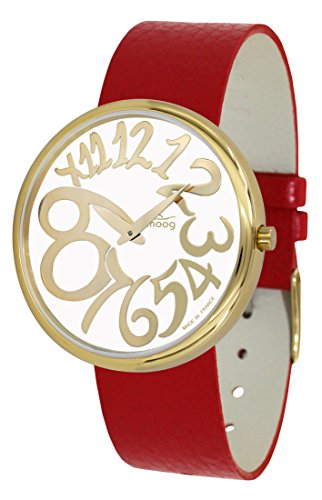 Moog Paris Ronde Art-Deco Women's Watch with White Dial, Red Strap in Genuine Leather - M41671-E31