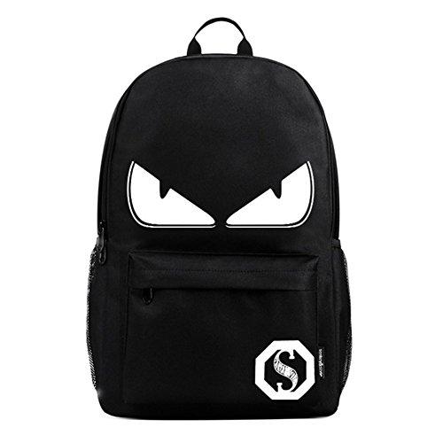 Zaino scuola anime luminoso zaino fresco unisex canvas zaino daypack shoulder school bag laptop, nero