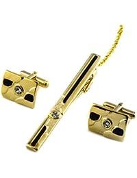 HYHAN Camisas de plata engastada con diamantes y clip de lazo de la mancuerna Set - Encantos Accesorios para hombres + caja de regalo, gold