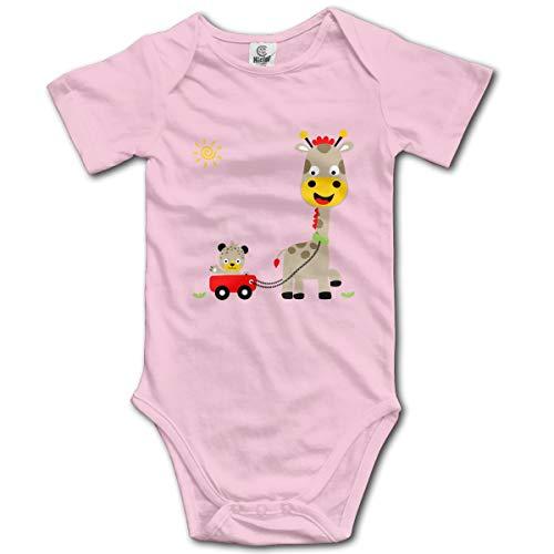 Organic Infant Creeper (Bleiben Sie niedliche Giraffe Cartoon Tier Neugeborenes Mädchen Baby Strampler Kurzarm Kleinkind Overall (6M, Pink))