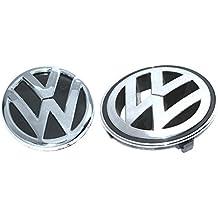 Enfield County Insignia con emblema de Volkswagen frontal y trasera, 2 unidades, color cromado y negro