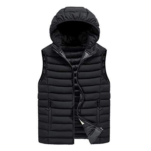 AZZRA Herren Herbst Winter Zipper Fashion Hoodie Weste Jacke Top Coat Steppweste Daunenweste Outdoor Winterweste mit Stehkragen Kapuze und Wasserdichten - Mods Und Rocker Kostüm