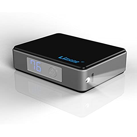 Lizone® 5200mAh Mini cargador portátil y batería externa POWER BANK con QC para iPhone 6 6S Plus 5S 5C 5 4S, iPad, Samsung Galaxy S4 S5 S6 Note, Nexus, HTC, Motorola, Nokia, PS Vita y mucho más - Negro