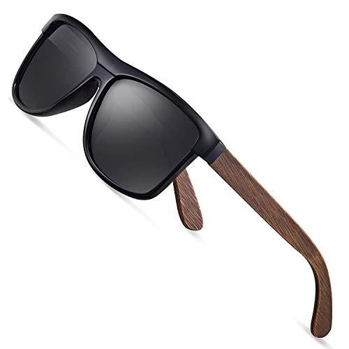 Tclothing Sonnenbrille Herren Polarisierte Walnussholz Holz Männer Frauen Sonnenbrillen UV400 Mode für das Reisen mit polarisierten Gläsern W1003