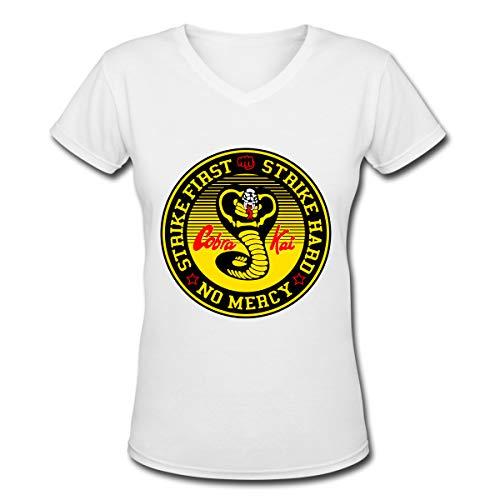 Apparel Frauen T-Shirt mit V-Ausschnitt Lässig Cobra-Kai Bedrucktes Kurzarm-T-Shirt Tops Trendy