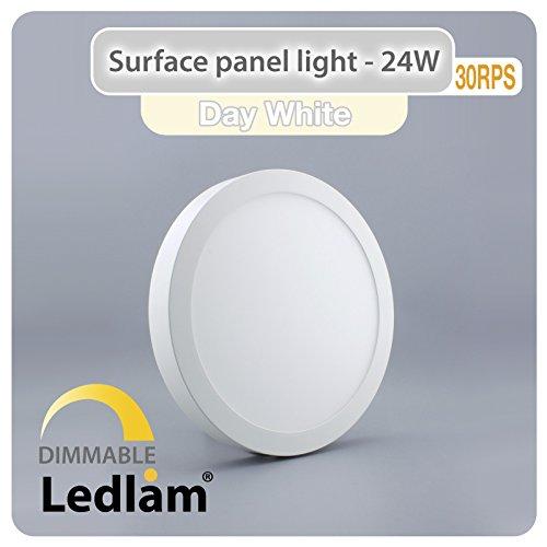 LED Deckenleuchte weiß 24 Watt rund 30cm - neutral weiß - dimmbar mit LED Dimmer, 220 Volt, Schutzklasse IP20, Abstrahlwinkel 120 Grad