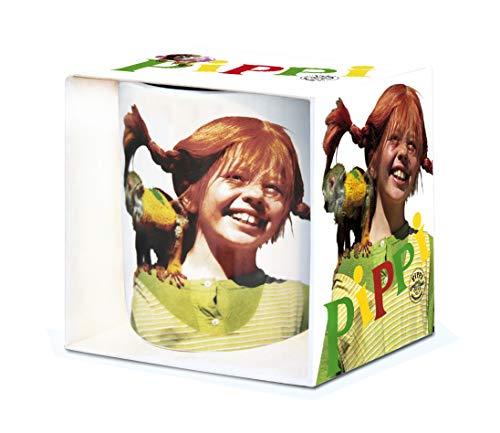 LOGOSHIRT - Kinderheldin - Pippi Langstrumpf - Herr Nilsson -Porzellan Tasse - Kaffeebecher - farbig - Lizenziertes Originaldesign