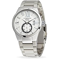 Anthony James Vintage White Men's Dress Watch - Smart, Durable Design for the Modern Man with Silver Metal Case, Metal Wrist Band, and Lifetime Manufacturer's Warranty
