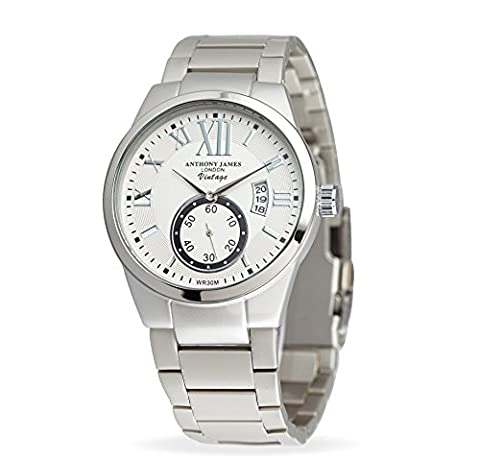Anthony James Vintage White Herren Kleid Uhr - Smart, Durable Design für den modernen Mann mit Silber Metall Fall, Metall Handgelenk Band und Lifetime Hersteller