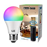 LE Ampoule Intelligente WIFI E27, Ampoule LED Alexa Intelligente E27 9W 850LM RGB Couleurs avec Luminosite Reglable, Ampoule Connectee WIFI Compatible avec Google Home Alexa etc
