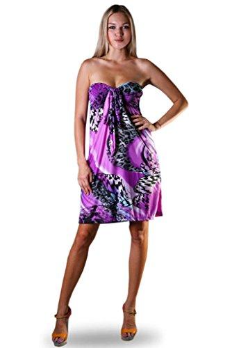 Damen Angela Bandeau Rohr Knie Lang Sommer, Urlaubs Kleid Leopard