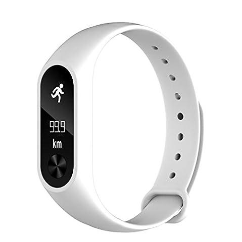 hunpta M2S Bluetooth Smart étanche bracelet monitorsports Montre de fréquence cardiaque, blanc