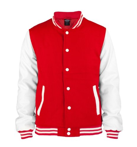 Urban Classics Herren Jacke Oldschool College Jacket Red/White