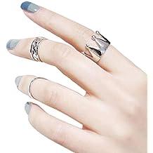 Sannysis® Donne Corona 3Pcs / Set Fashion Design Pila Sopra Knuckle chiodo dell'anello (Silver) - 1 Anello Placcato Oro Bello