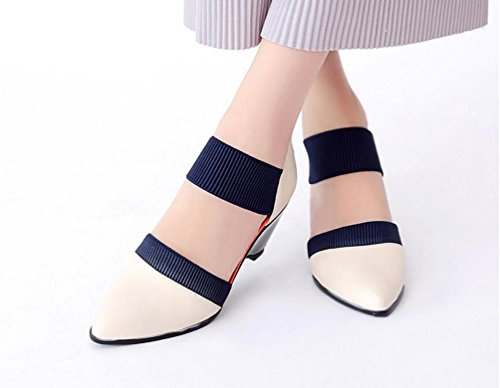 Ol Pumpen Gürtel Half Baumwolle elastisch Damen Gürtel elastisch A Form von Mandel Riemchen Schuhe elegante EU Größe 34–39 meters white