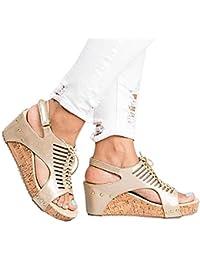 Minetom Sandalias Mujer Cuña Alpargatas Plataforma Romanas Gladiador Sandals Verano Tacon Planas Mares Playa Chancletas Zapatillas