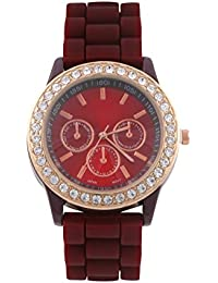 KMS Maroon Round Dial Stylish Women Analog Watch