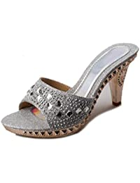 GTUFDRG Sommer Frauen Sandalen Rutschen Strass Glitter Abnormale Ferse Fashion Sweet Silver 10 jKe1bS