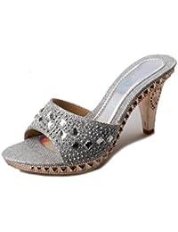 GTUFDRG Sommer Frauen Sandalen Rutschen Strass Glitter Abnormale Ferse Fashion Sweet Silver 10