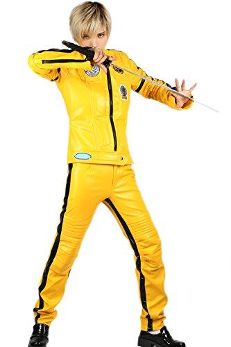 Cosplay Kostüm Damen Overall Jumpsuit PU Outfits Bodysuit Gelb Jacke & Hose Voller Anzug für Erwachsene Kleidung