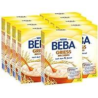 Nestlé BEBA Milchbrei Grieß, mit altersgerechter Folgemilch, mit Vitamin D & C, Zink, Jod, glutenfrei, ohne Farb- & Konservierungsstoffe, nach 4. Monat, 9er Pack (9 x 250 g)