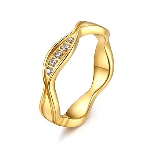 MGZDH Ring, Herrenring, Paar Ring Titan Stahl Paar unregelmäßige goldene Ringe galvanisiert Goldring