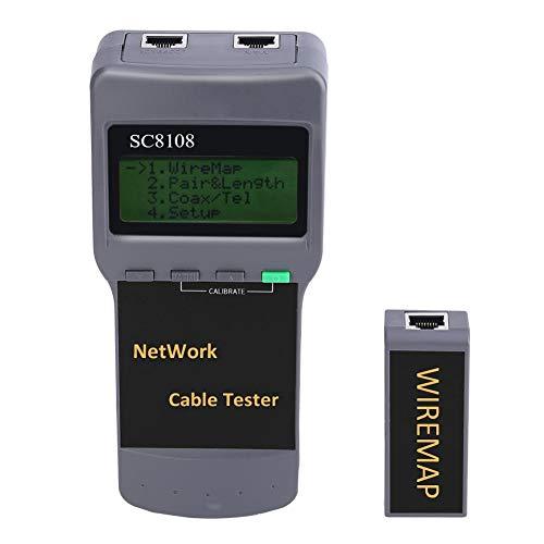 Oumij Netzwerkkabel CAT5 RJ45-Tester SC8108 Breakpoint Finder Längen-Test Entfernungsmesser, automatische Abschaltverzögerung, mit dynamischer Kalibrierungsfunktion für die Kabellänge