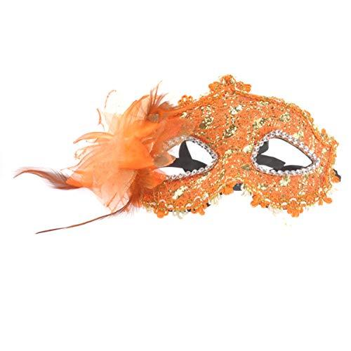 HEALIFTY Halloween Maske Lilie Blume Strass venezianische Spitze Gesichtsmaske für Halloween/Maskerade/kostüm Party (orange) (Einfache Venezianische Kostüm)