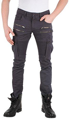 TAZZIO Top Herren Hose Skinny Jeans Stretch Biker Style Clubwear Grau