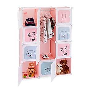 Relaxdays Steckregal Kinderzimmer, Mädchen, lustige Motive, Kunststoff, DIY Schrank mit Türen, HBT 145x110x37,5 cm, rosa