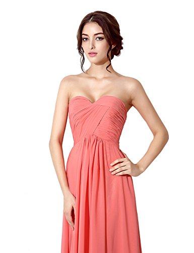 Sarahbridal Damen Lang Chiffon Herzenform Abendkleider Brautjungfernkleider Faltenrock Abschlussballkleider SSD182 Grün