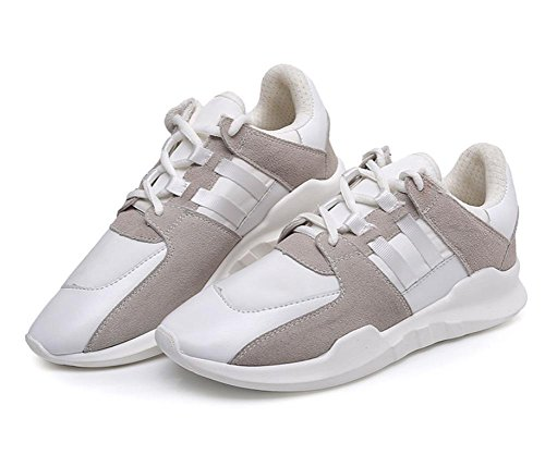 Pattini piani casuali di sport scarpe da corsa pizzo scarpe autunno signora scarpe ascensore White