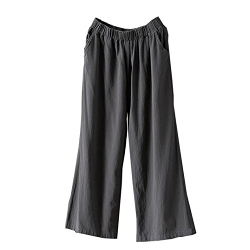 Lazzboy Womens Wide Leg High Waist Linen Pure Colour Trousers Palazzo Loose Pants