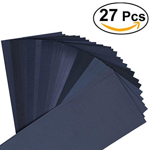 OUNONA Papier de Verre Papier Abrasif sec / humide pour la finition de meubles en bois ponçage automobile 400 à 3000 Grain 27PCS