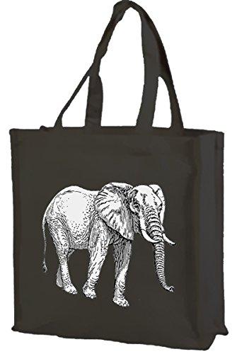 Elefante, cotone shopping bag Black