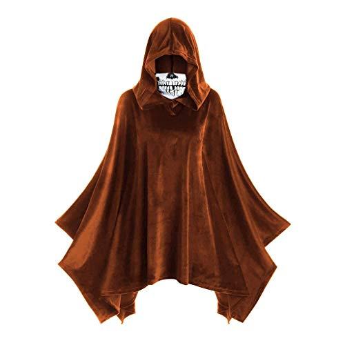 YueLove Damen Halloween Vintage Kostüm Schädel Maske Einfarbig Mittelalter Mantel Große Größen Renaissance Cosplay Blouses Tops mit Kapuze
