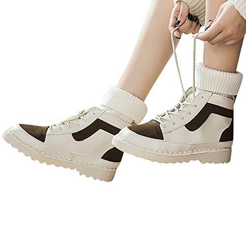 TianWlio Boots Stiefel Schuhe Stiefeletten Frauen Herbst Winter Leder Schuhe mit Runder Zehenpartie Überkreuzte Rutschfeste Flache Stiefelette Weihnachten Braun 35
