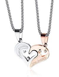 5e969d9d2a50 Fate Love Collares de Pareja de Acero Inoxidable para Hombre y Mujer
