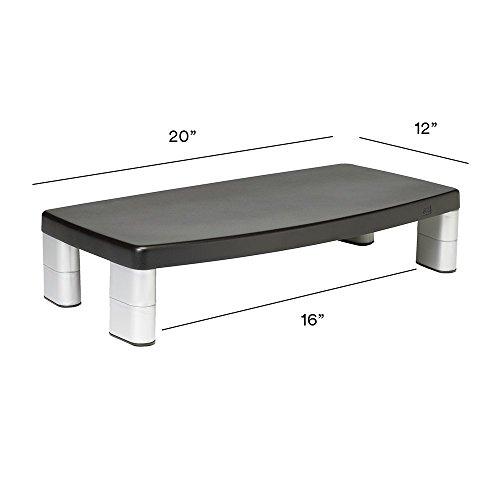 3M Adjustable Monitor Stand, 50.8 x 30.48 x 14.9 cm - Black/Silver