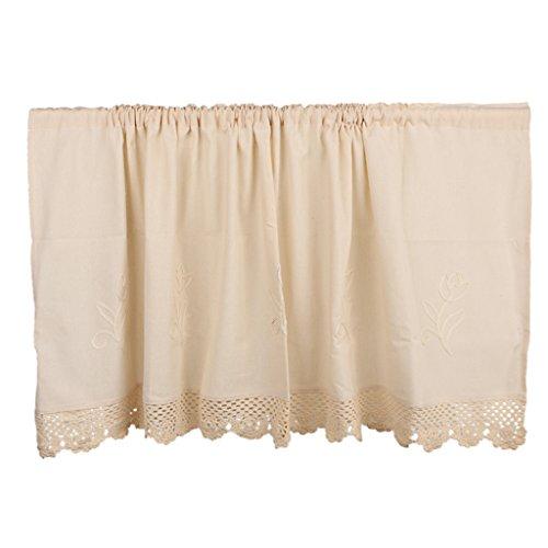 MagiDeal Moden Baumwoll Leinen Vorhang Blickdicht für Fenster Küche, Größe Auswahl - Beige, 60 * 150cm (Große Vorhänge Küche)