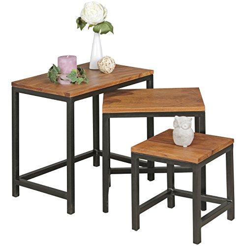 WOHNLING 3er Set Design:eistelltische AKOLA Sheesham Satztische Metallbeine   Anstell-Tischset 3 teilig Materialmix   Couchtisch aus Massivholz